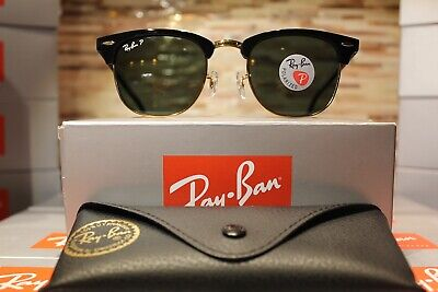 52af49b39987c3 Ray-Ban Clubmaster Sunglasses Polarized RB3016 901 58 51mm Black Green Lens!