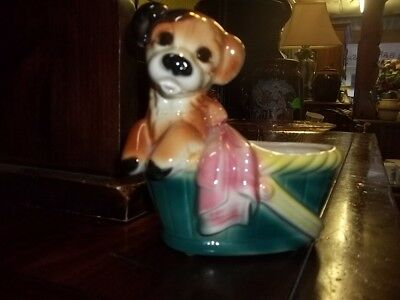 Royal Copley Dog in basket planter