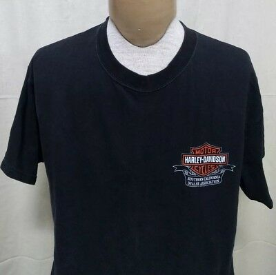 Harley Davidson Mens Sz L Motorcycle Dealers Association T-shirt Laughlin 2002