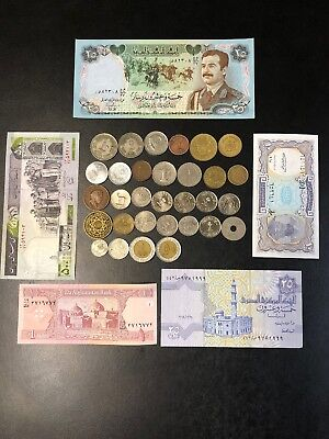 Lot of 31 Mixed Islamic Arab & Middle East World Coins + 5 Bank Notes lot#64