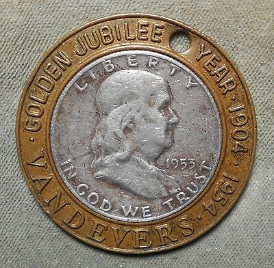 Tulsa OK Vandevers Golden Jubilee Year 1904-1954 Encased 1953D Franklin 50c