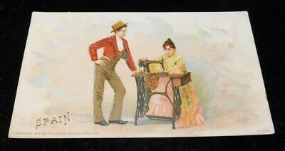 RARE old Singer Sewing Machines Advertising Trade Card - Spain