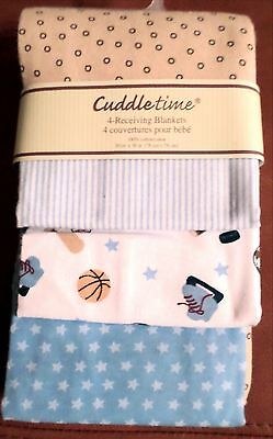 Cuddletime Baby Boys 4Pack Flannel Receiving Blankets Sports/Stripes Blues 30x30