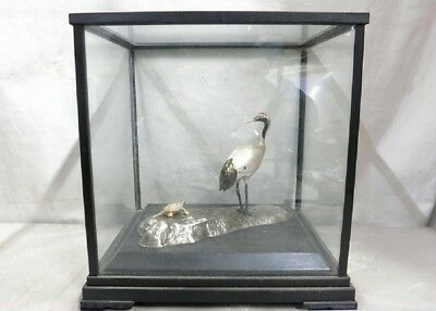 Pure silver. The sculpture of the happy crane and tortoise. Japanese Antique