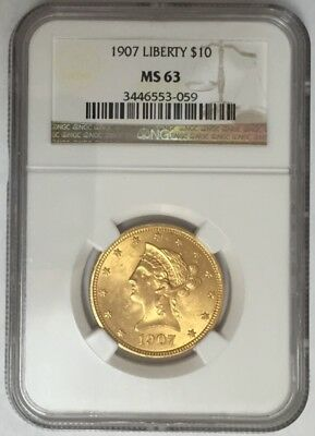 1907 $10 Gold Liberty Head Eagle NGC MS 63