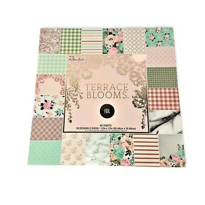 "Terrace Blooms 12""x 12"" Paper Pad by The Paper Studio,Swan,Pastel,Scrapbooking"