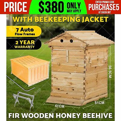 Wooden Beekeeping Beehive Brood House Box +7pcs Auto Flow Honey Hive Frames OZ