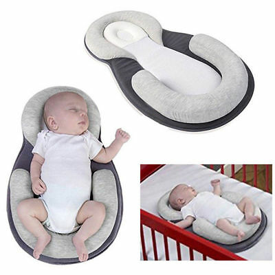 Infant Newborn Baby Anti Roll Pillow Cushion Prevent Flat Head Sleep Support UK