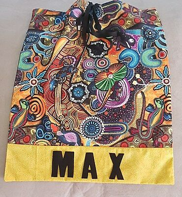 Library Bag~~ Aboriginal Print #2 ~Australiana With Childs Name~~Handcrafted~New