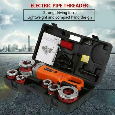 Portable Handheld Electric Pipe Threader Threading Machine With 6 Dies 220V HG