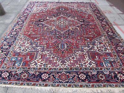 Antique Traditional Hand Made Persian Oriental Wool Red Large Carpet 307x225cm