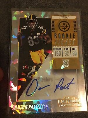 2018 Panini Contenders Damoun Patterson Rookie Cracked Ice Auto /24 Steelers