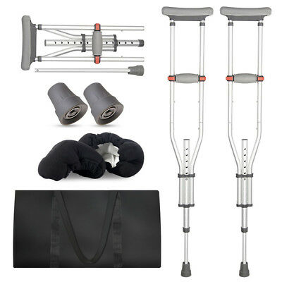1 pair Adjustable Underarm Crutches Walk Stick Aid Care Lightweight Foldable