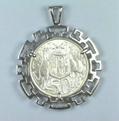 1966 Australian Round Silver 50 Cent coin mounted in sterling silver pendant