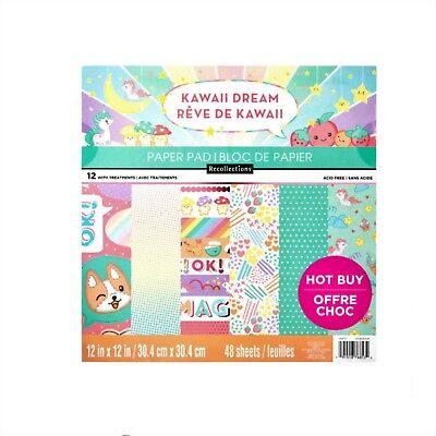 "Kawaii Dream 12"" x 12"" Paper Pad by Recollections,Dog,Unicorns,Food,Scrapbooking"
