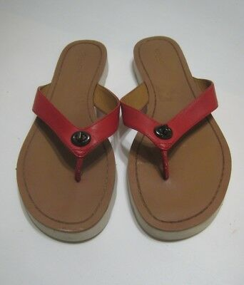 6bde96329 COACH RED LEATHER Thong Slide On Shelly Flip Flop Sandals Size 9 M ...