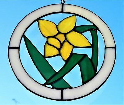 Hand crafted stained glass sun catcher Daffodil in Circle.