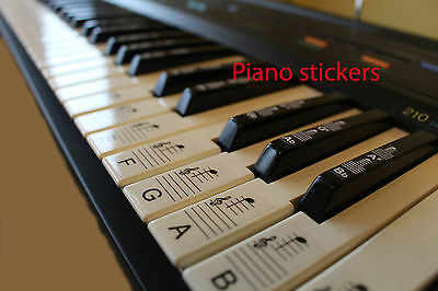 Keyboard or Piano STICKERS 88 LAMINATED stickers white & black keys TRANSPARENT