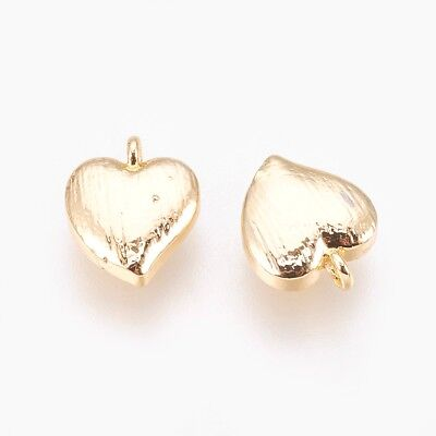 10pcs Brass Charm Metal Gold Plated Heart Pendant DIY Jewelry Finding Crafts 9mm