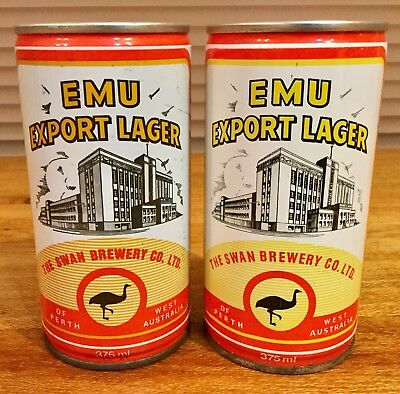 Emu Export Lager. 375ml. Crimped Steel Beer Cans x 2 Different Variations.