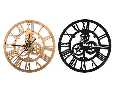 Modern Black/Gold 30cm Round Numerals Clock Acrylic For Steampunk Wall Decor