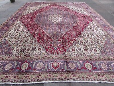 Old Hand Made Traditional Persian Rug Oriental Wool Cream Large Carpet 384x295cm