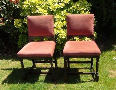 Pair of Edwardian Pink Material Bedroom Chairs