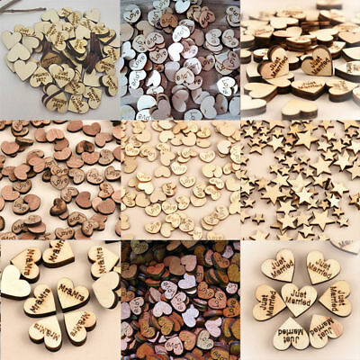 100x Personalised Rustic Wooden Love Heart Table Scatter Wedding Party Decor