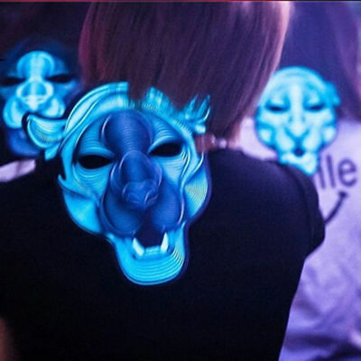 Sound  LED Mask Cosplay Costume Light Up Scary Halloween Party Purge Wire Decor