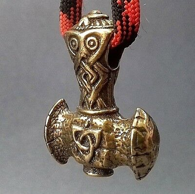 Viking Hammer Bronze Bead Paracord Leather Lanyard Beads Knife Bracelet Pendant!