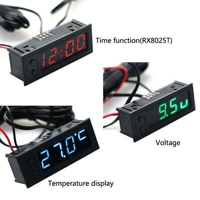 DIY Multifunction Clock Car Temperature Battery Voltage Monitor Voltmeter DC 12V