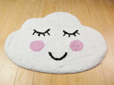 Sweet Dreams Happy Sleeping White Cloud Rug Childrens Room Nursery Floor Decor