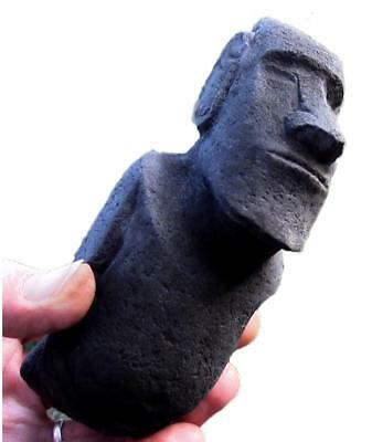 MYSTIC MOAI Traditional Rapa Nui Stone Statue with authentic back carvings