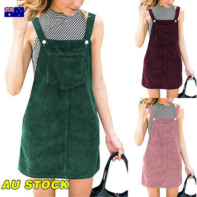 AU Women Corduroy Mini A-Line Dress Casual Pinafore Dungaree Overall Dress