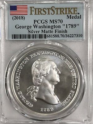 "2018 MS70 First Strike George Washington ""1797"" Silver Medal Matte Finish PCGS"