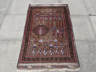 Old Traditional Afghan Hand Made Oriental Brown Wool Rug Carpet 140x92cm