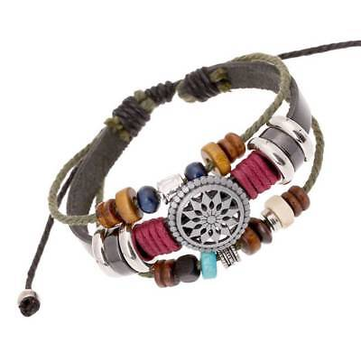 1pc Handmade Braided Genuine Leather  Bracelets Bangles Vintage Engraved Jewelry