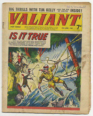 Valiant 14th June 1969 (mid-high grade) Steel Claw, Sexton Blake, Kelly's Eye