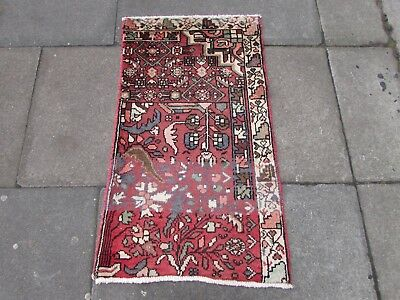 Old Hand Made Traditional Persian Rug Oriental VAGEREH Wool Pink Rug 105x62cm