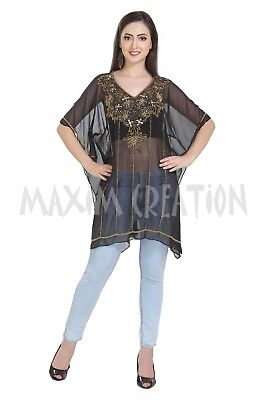 Cocktail Party Wear Kurti Soft Comfortable Blouson Hand Embroidered Top Only6542