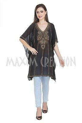 Black Hand Embroidered Kurti Soft Comfortable Traditional Blouson Top Only 6514