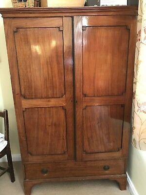 Large Antique Mahogany Wardrobe With Drawer
