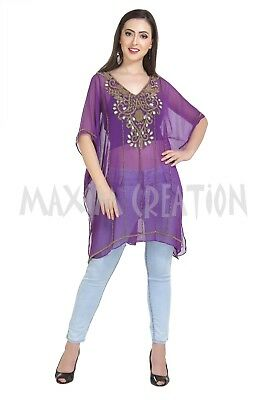 Bling Embroidered Kurti Cocktail Party Wear Blouson Daily Use Top Only 6513