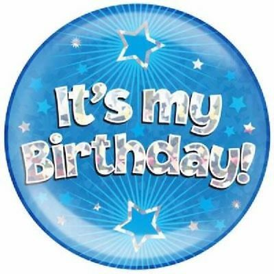 """6"""" Jumbo Blue Its My Birthday Badge Boys Mens New Party Holographic Pin Or Stand"""
