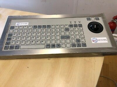 96 Key Rugged Industrial Keyboard with Trackerball Stainless Steel