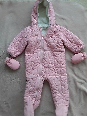 Next Snowsuit Pramsuit 9-12 Months Baby Girls Pink Fur Lined With Mittens