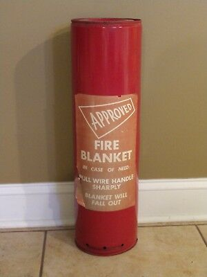 Vintage Approved Fire Blanket Wall Mount Red extinguisher