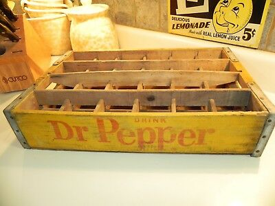Dr. Pepper Bottle Crate Yellow Wood 1950/60's