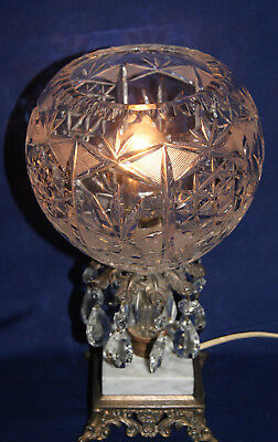 Vintage Electric Table Lamp - 10 Glass Teardrops - Marble & Cast Base - On/Off
