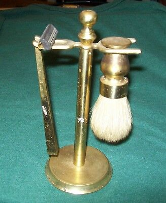 Vintage Brass Shaving Set w/ Stand Razor Cream Brush Barber Beauty Shop Decor